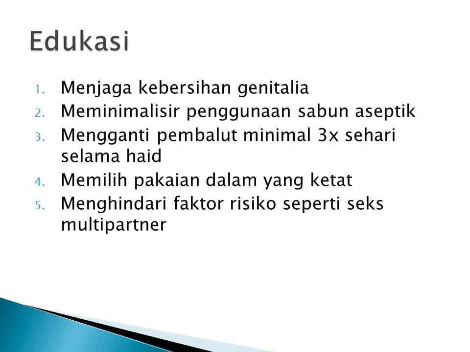 1. Menjaga kebersihan genitalia 2. Meminimalisir penggunaan sabun aseptik 3. Mengganti pembalut minimal 3x sehari selama haid 4. Memilih pakaian dalam