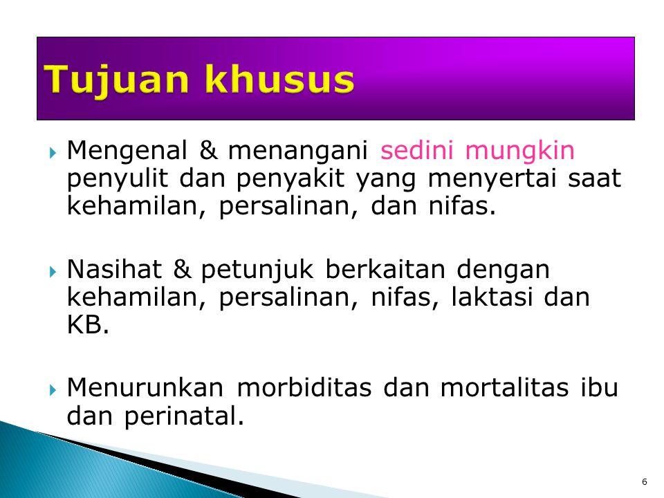 7  Anamnesis: Identitas, Status Marital, HPMT, Keluhan, RPS, RPD, Riwayat Fertilitas, Riwayat Obstetri, Riwayat ANC, Riwayat Haid, Riwayat Perkawinan, Riwayat KB  Pemeriksaan fisik umum: TB/BB, KUVS, Status Generalis  Pemeriksaan khusus obstetri: Inspeksi, Palpasi (Leopold), TFU, Auskultasi (DJJ), Pemeriksaan Dalam (VT)  Pemeriksaan penunjang: USG, Laboratorium (DR3, SGOT, SGPT, Albumin, Bilirubin, LDH)  Diagnosis kehamilan: Tanda dugaan hamil, tanda pasti, tanda tidak pasti  Pemeriksaan psikologis*  Penatalaksanaan lebih lanjut: Edukasi, Terapi obat (SF, Asam Folat), Dirujuk (jika terdapat penyulit di waktu-waktu mendekati persalinan)