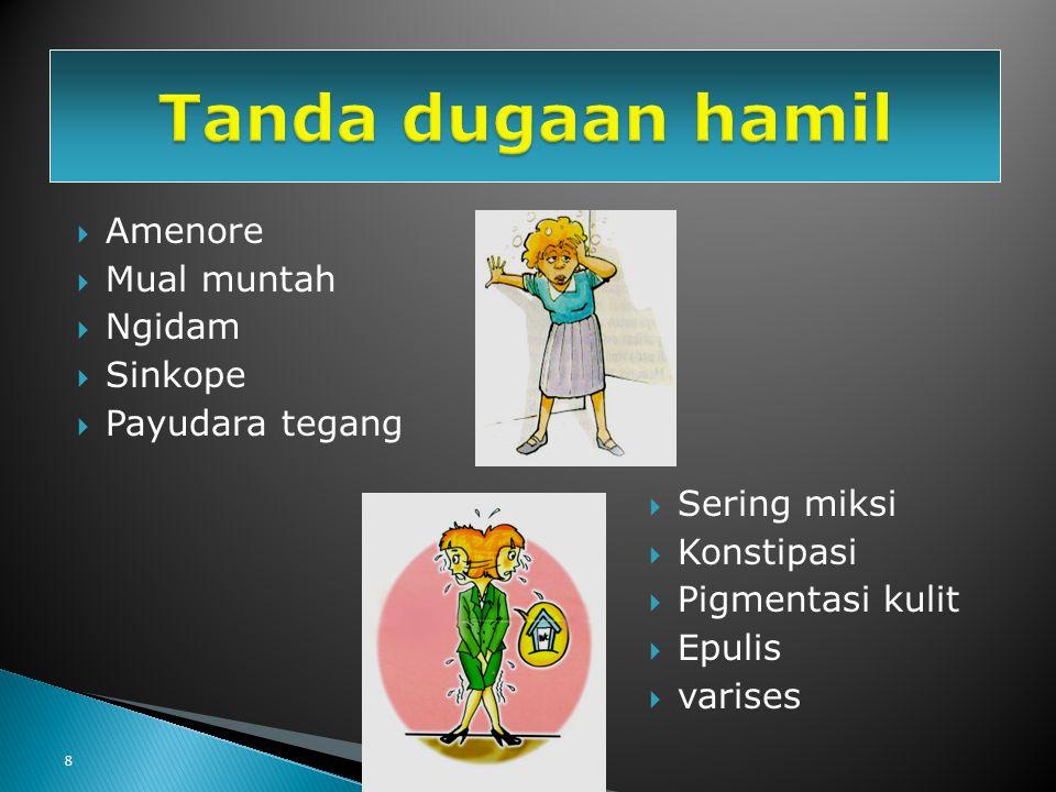 8  Amenore  Mual muntah  Ngidam  Sinkope  Payudara tegang  Sering miksi  Konstipasi  Pigmentasi kulit  Epulis  varises