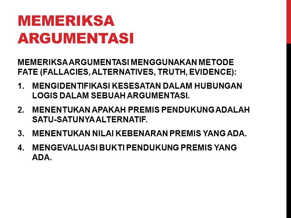 MEMERIKSA ARGUMENTASI MEMERIKSA ARGUMENTASI MENGGUNAKAN METODE FATE (FALLACIES, ALTERNATIVES, TRUTH, EVIDENCE): 1.MENGIDENTIFIKASI KESESATAN DALAM HUB