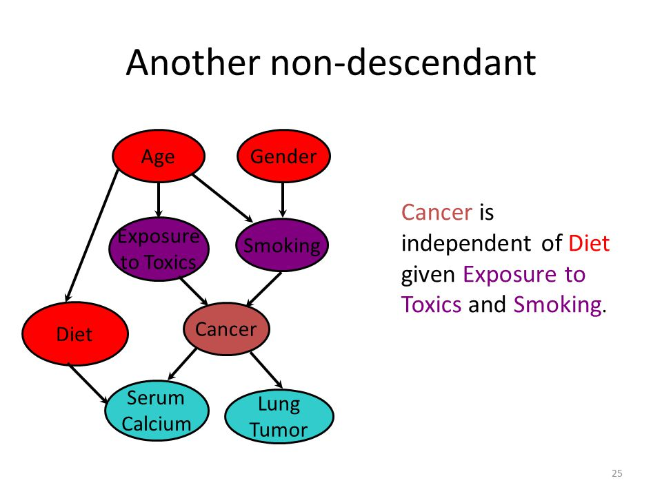 Conditional Independence 24 Smoking GenderAge Cancer Lung Tumor Serum Calcium Exposure to Toxics Cancer is independent of Age and Gender given Exposure to Toxics and Smoking.