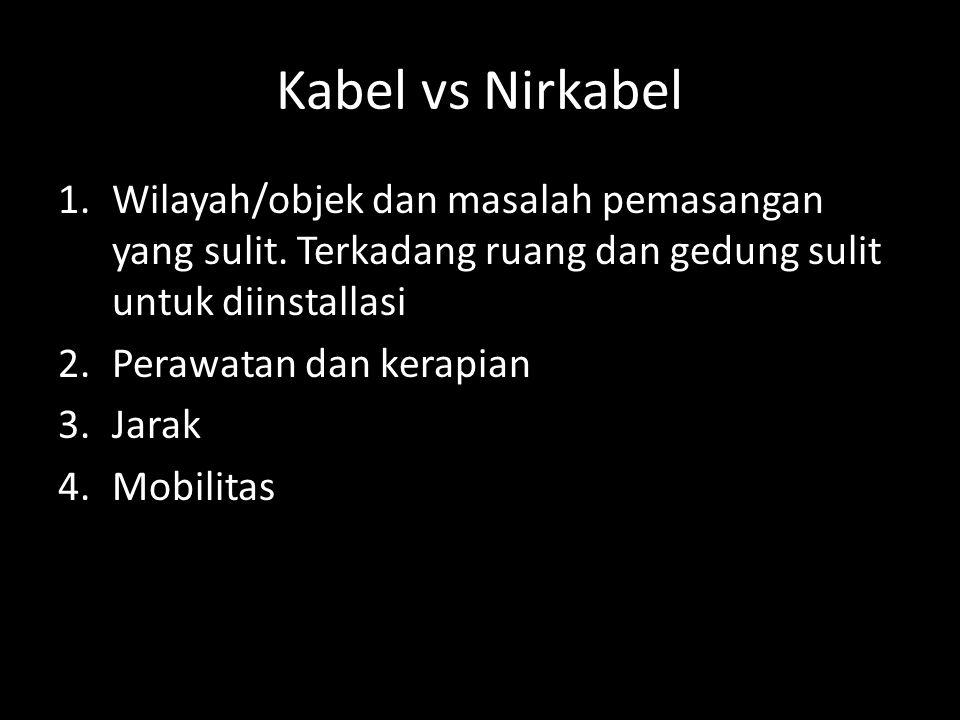 Kabel vs Nirkabel 1.Wilayah/objek dan masalah pemasangan yang sulit. Terkadang ruang dan gedung sulit untuk diinstallasi 2.Perawatan dan kerapian 3.Ja
