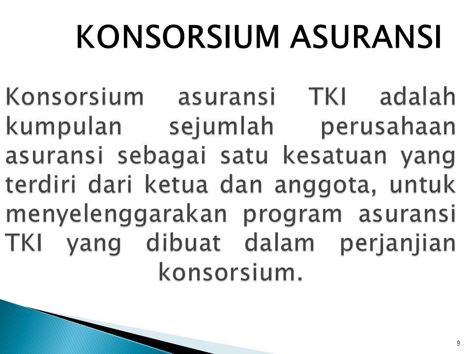 9 Konsorsium asuransi TKI adalah kumpulan sejumlah perusahaan asuransi sebagai satu kesatuan yang terdiri dari ketua dan anggota, untuk menyelenggarak