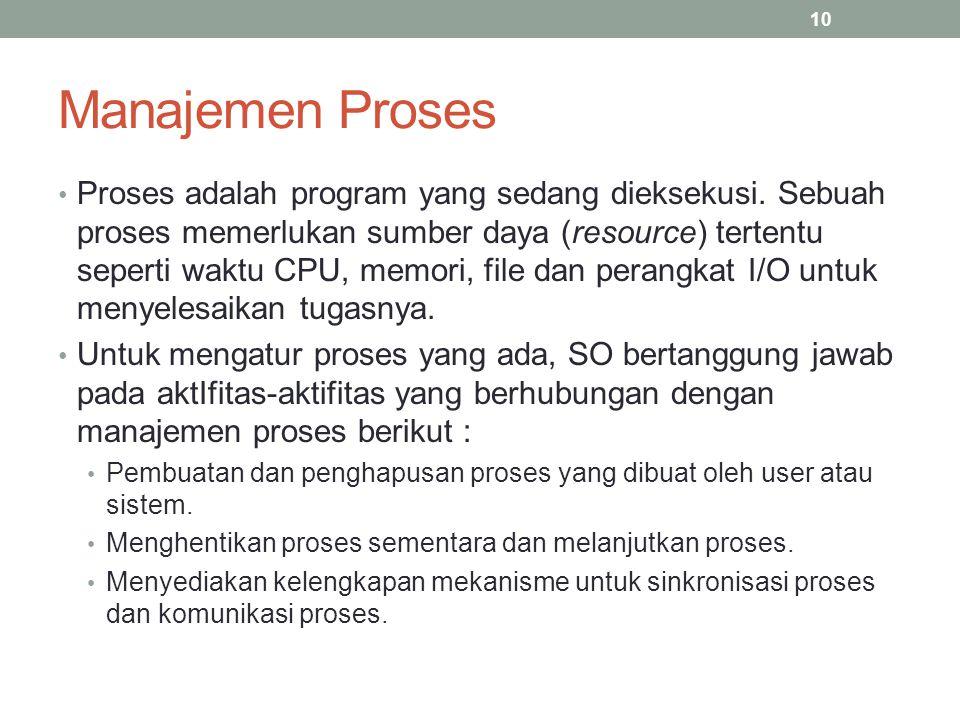 Manajemen Proses Proses adalah program yang sedang dieksekusi. Sebuah proses memerlukan sumber daya (resource) tertentu seperti waktu CPU, memori, fil