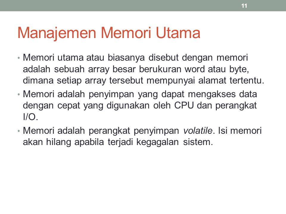 Manajemen Memori Utama Memori utama atau biasanya disebut dengan memori adalah sebuah array besar berukuran word atau byte, dimana setiap array terseb