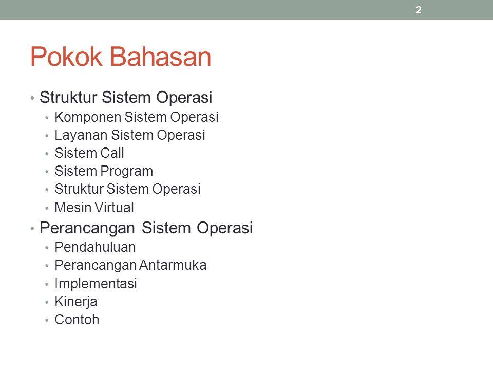 Pokok Bahasan Struktur Sistem Operasi Komponen Sistem Operasi Layanan Sistem Operasi Sistem Call Sistem Program Struktur Sistem Operasi Mesin Virtual