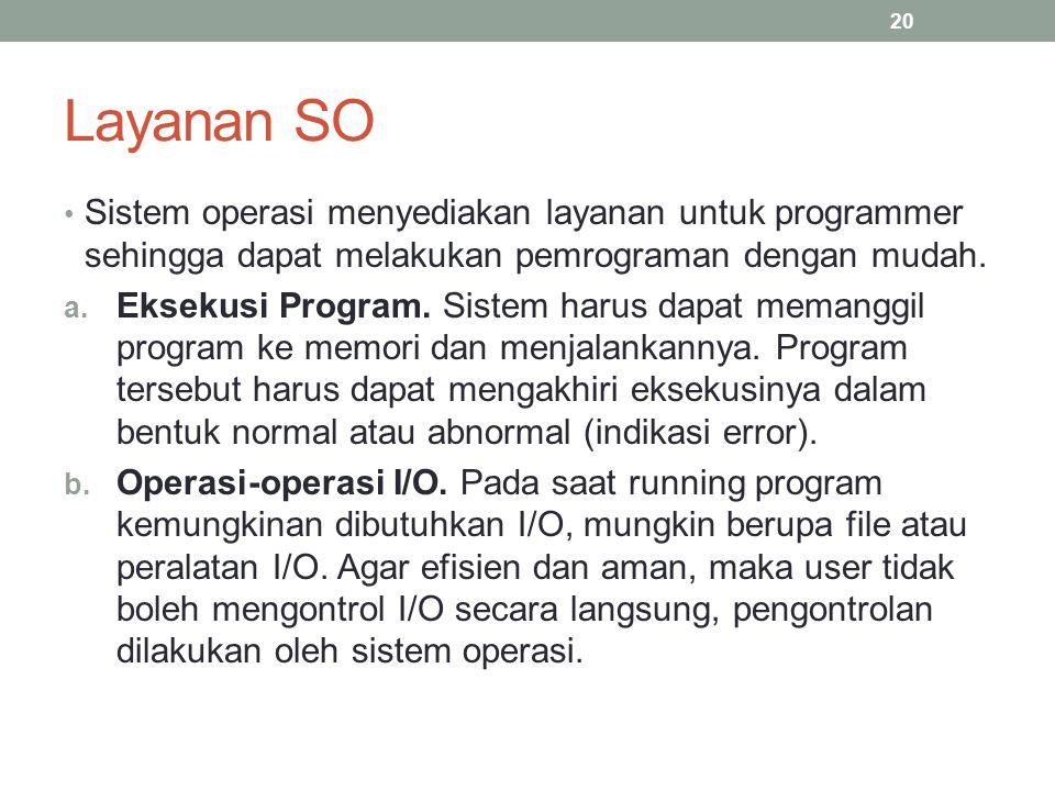 Layanan SO Sistem operasi menyediakan layanan untuk programmer sehingga dapat melakukan pemrograman dengan mudah. a. Eksekusi Program. Sistem harus da
