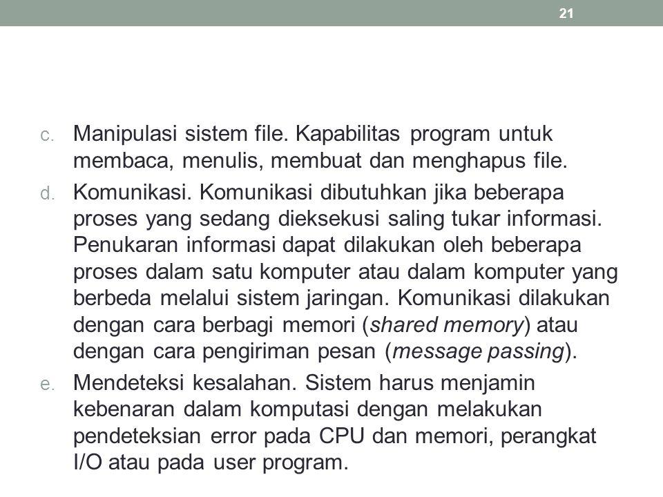 c. Manipulasi sistem file. Kapabilitas program untuk membaca, menulis, membuat dan menghapus file. d. Komunikasi. Komunikasi dibutuhkan jika beberapa