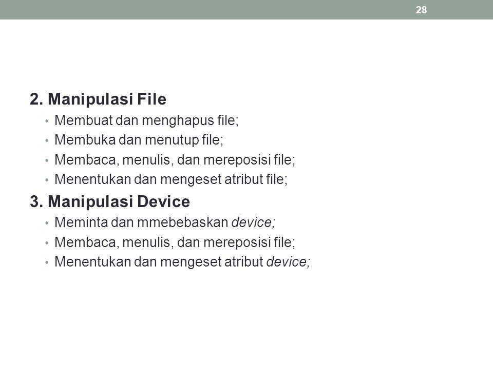 2. Manipulasi File Membuat dan menghapus file; Membuka dan menutup file; Membaca, menulis, dan mereposisi file; Menentukan dan mengeset atribut file;