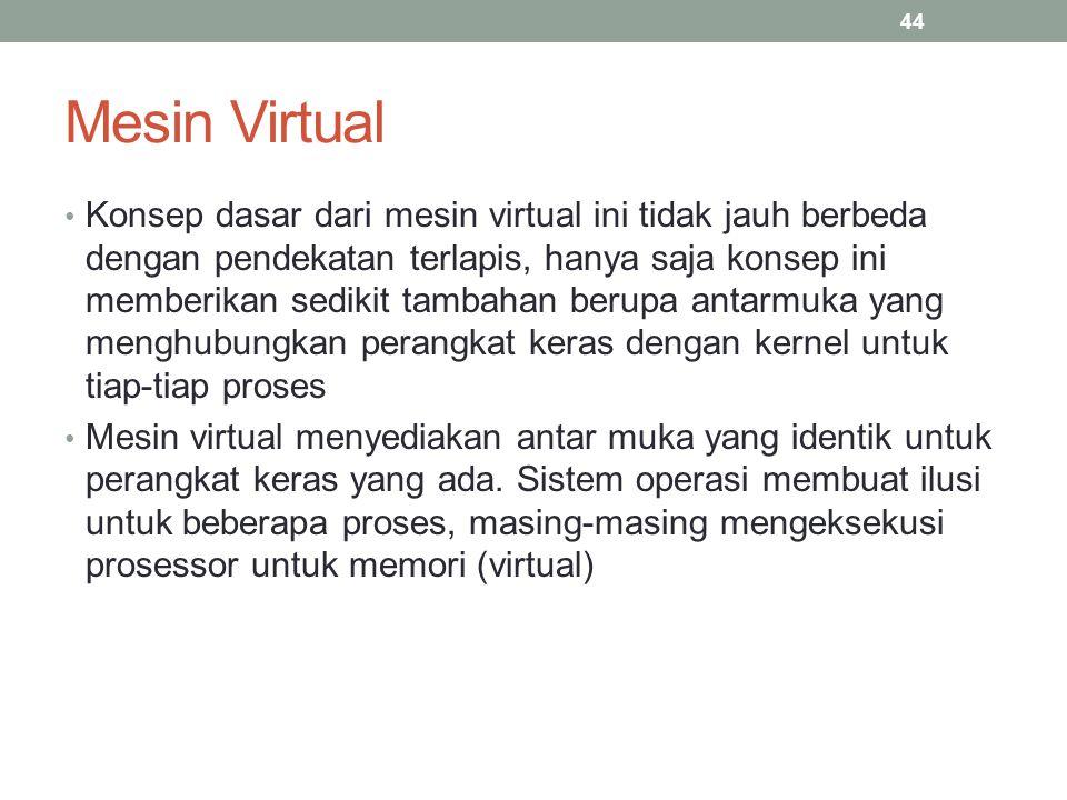 Mesin Virtual Konsep dasar dari mesin virtual ini tidak jauh berbeda dengan pendekatan terlapis, hanya saja konsep ini memberikan sedikit tambahan ber