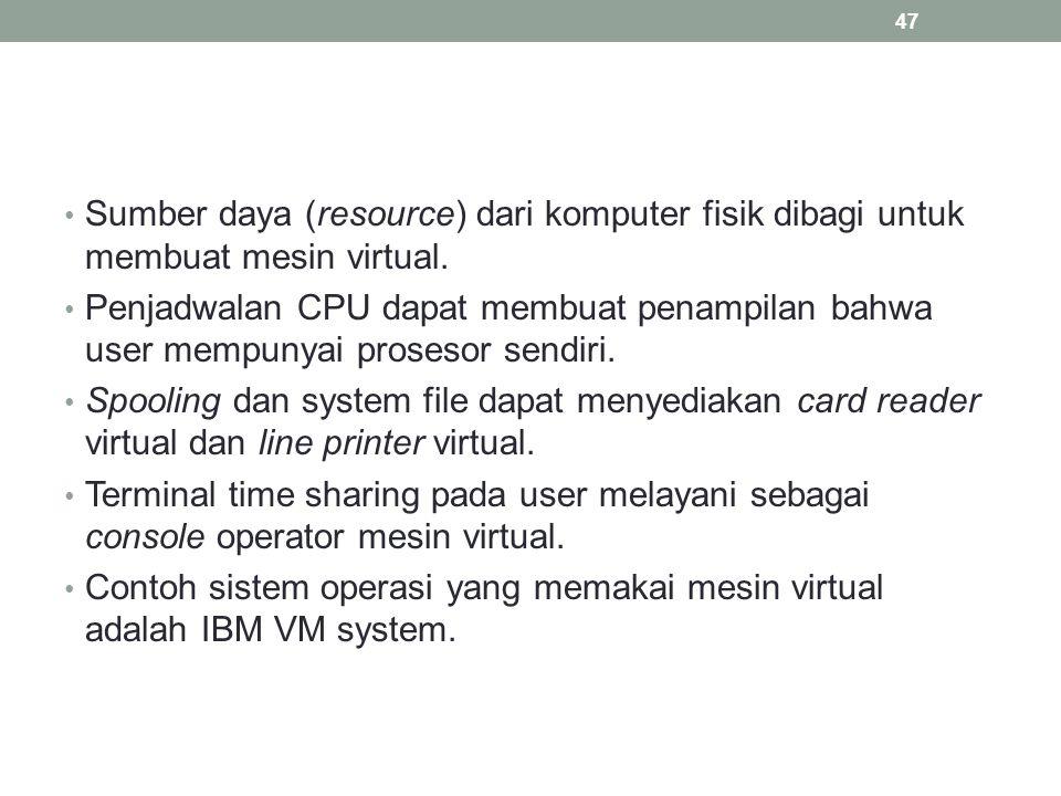Sumber daya (resource) dari komputer fisik dibagi untuk membuat mesin virtual. Penjadwalan CPU dapat membuat penampilan bahwa user mempunyai prosesor