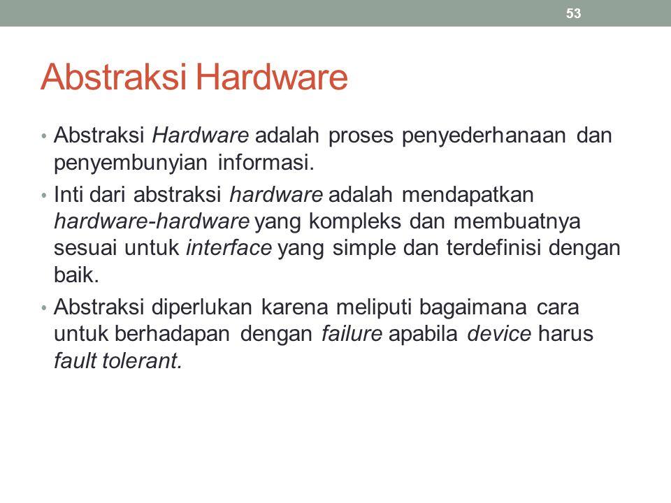 Abstraksi Hardware Abstraksi Hardware adalah proses penyederhanaan dan penyembunyian informasi. Inti dari abstraksi hardware adalah mendapatkan hardwa