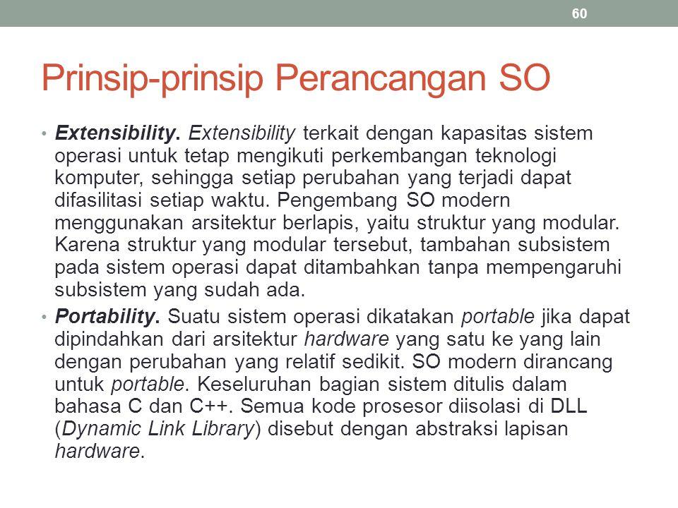 Prinsip-prinsip Perancangan SO Extensibility. Extensibility terkait dengan kapasitas sistem operasi untuk tetap mengikuti perkembangan teknologi kompu