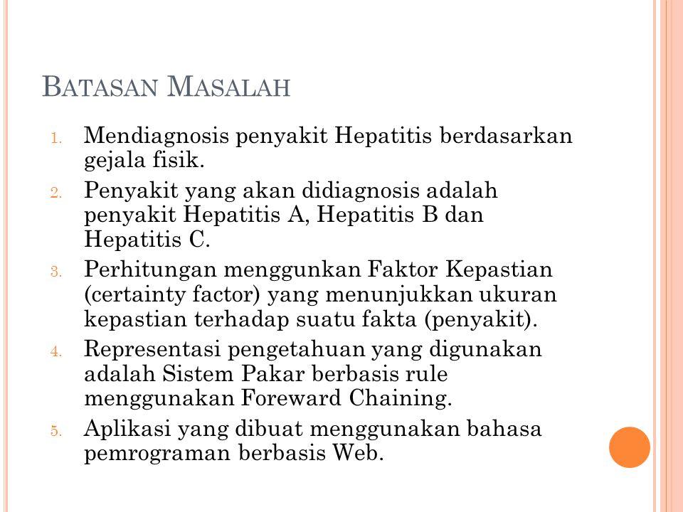 B ATASAN M ASALAH 1. Mendiagnosis penyakit Hepatitis berdasarkan gejala fisik. 2. Penyakit yang akan didiagnosis adalah penyakit Hepatitis A, Hepatiti