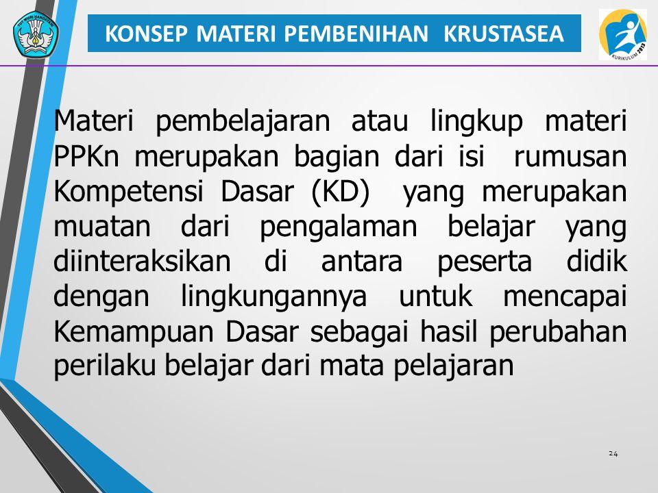24 KONSEP MATERI PEMBENIHAN KRUSTASEA Materi pembelajaran atau lingkup materi PPKn merupakan bagian dari isi rumusan Kompetensi Dasar (KD) yang merupa