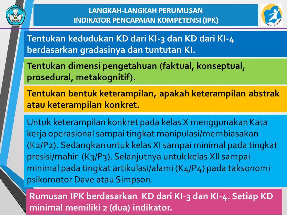 28 Tentukan kedudukan KD dari KI-3 dan KD dari KI-4 berdasarkan gradasinya dan tuntutan KI. LANGKAH-LANGKAH PERUMUSAN INDIKATOR PENCAPAIAN KOMPETENSI