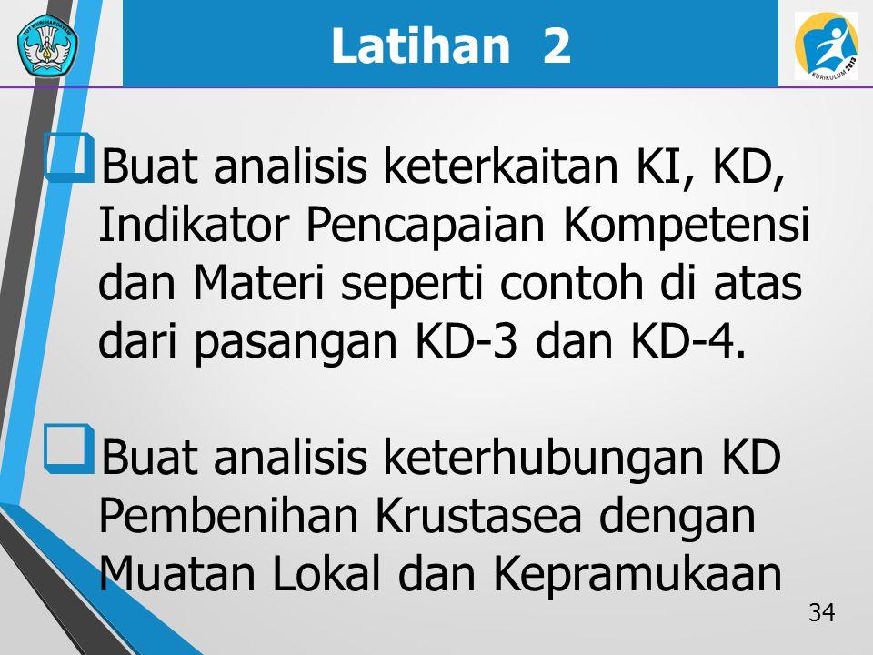 Latihan 2  Buat analisis keterkaitan KI, KD, Indikator Pencapaian Kompetensi dan Materi seperti contoh di atas dari pasangan KD-3 dan KD-4.  Buat an