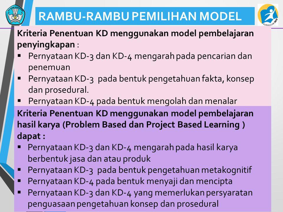39 RAMBU-RAMBU PEMILIHAN MODEL Kriteria Penentuan KD menggunakan model pembelajaran penyingkapan :  Pernyataan KD-3 dan KD-4 mengarah pada pencarian dan penemuan  Pernyataan KD-3 pada bentuk pengetahuan fakta, konsep dan prosedural.