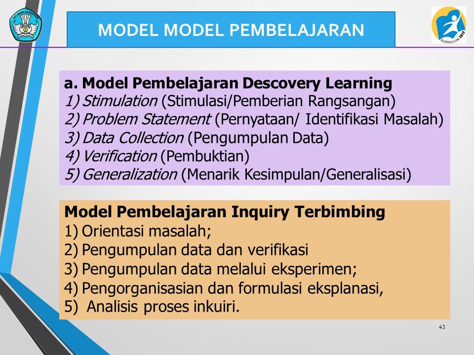 43 a.Model Pembelajaran Descovery Learning 1)Stimulation (Stimulasi/Pemberian Rangsangan) 2)Problem Statement (Pernyataan/ Identifikasi Masalah) 3)Data Collection ( Pengumpulan Data) 4)Verification (Pembuktian) 5)Generalization (Menarik Kesimpulan/Generalisasi) Model Pembelajaran Inquiry Terbimbing 1)Orientasi masalah; 2)Pengumpulan data dan verifikasi 3)Pengumpulan data melalui eksperimen; 4)Pengorganisasian dan formulasi eksplanasi, 5) Analisis proses inkuiri.