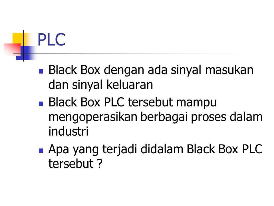 Black Box dengan ada sinyal masukan dan sinyal keluaran Black Box PLC tersebut mampu mengoperasikan berbagai proses dalam industri Apa yang terjadi di