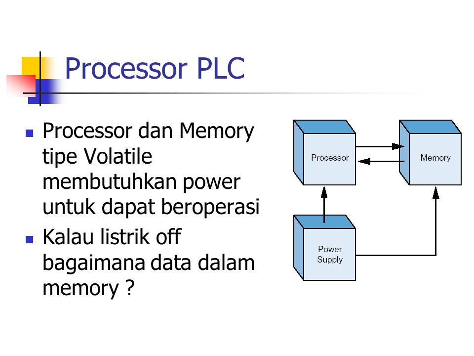 Processor PLC Processor dan Memory tipe Volatile membutuhkan power untuk dapat beroperasi Kalau listrik off bagaimana data dalam memory ?