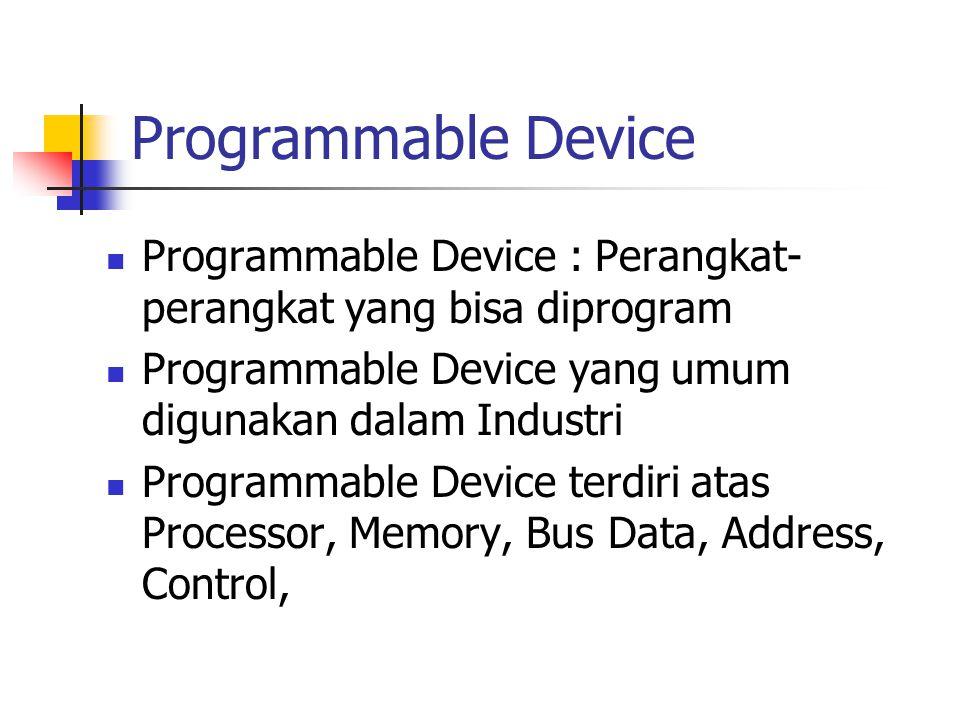 Programmable Device Programmable Device : Perangkat- perangkat yang bisa diprogram Programmable Device yang umum digunakan dalam Industri Programmable