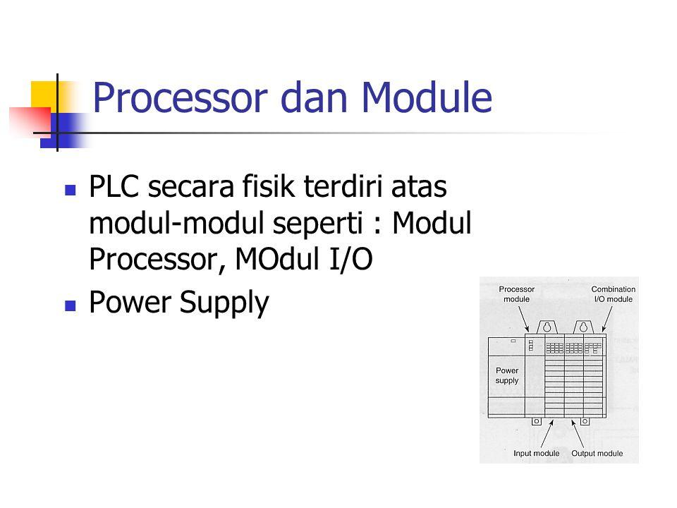 Processor dan Module PLC secara fisik terdiri atas modul-modul seperti : Modul Processor, MOdul I/O Power Supply