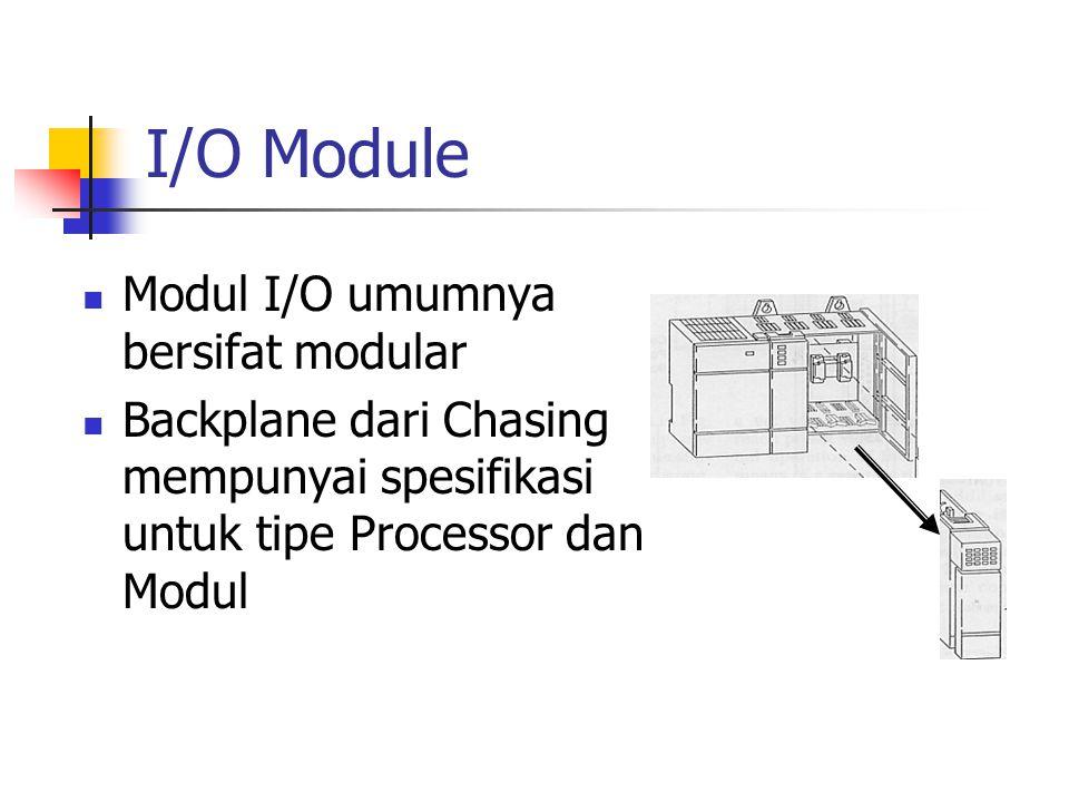 I/O Module Modul I/O umumnya bersifat modular Backplane dari Chasing mempunyai spesifikasi untuk tipe Processor dan Modul