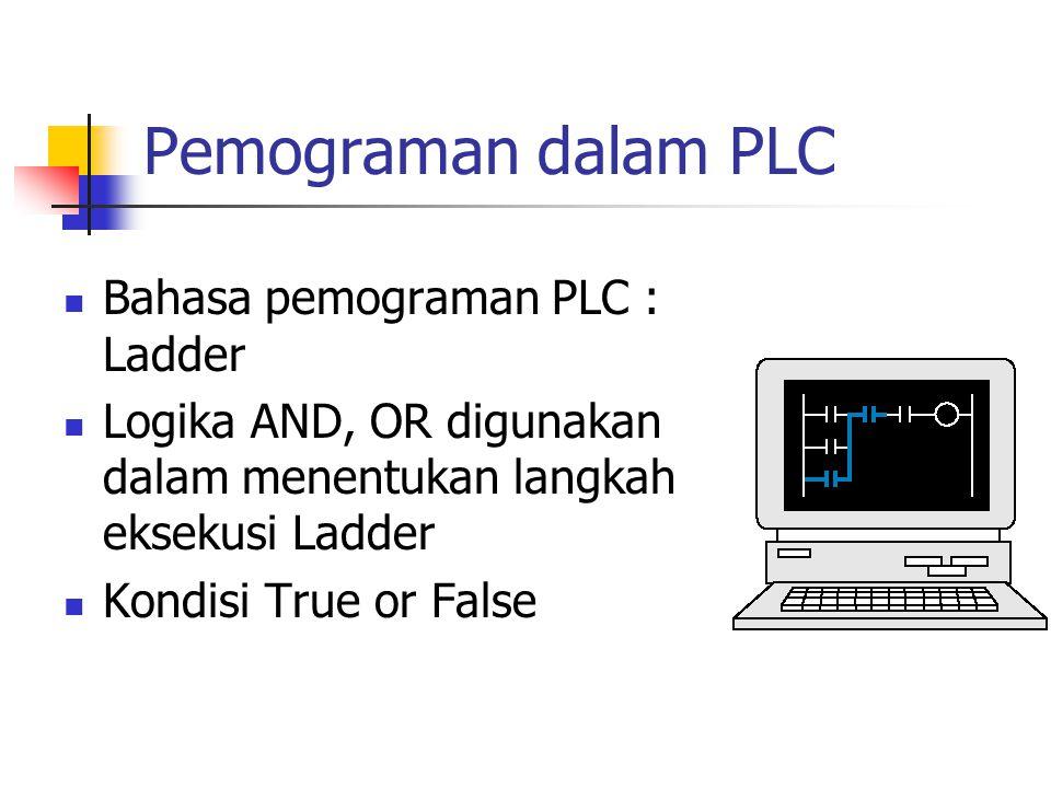 Pemograman dalam PLC Bahasa pemograman PLC : Ladder Logika AND, OR digunakan dalam menentukan langkah eksekusi Ladder Kondisi True or False