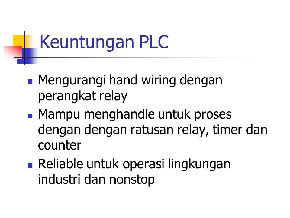 Keuntungan PLC Mengurangi hand wiring dengan perangkat relay Mampu menghandle untuk proses dengan dengan ratusan relay, timer dan counter Reliable unt