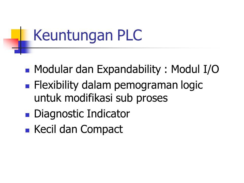 Keuntungan PLC Modular dan Expandability : Modul I/O Flexibility dalam pemograman logic untuk modifikasi sub proses Diagnostic Indicator Kecil dan Com