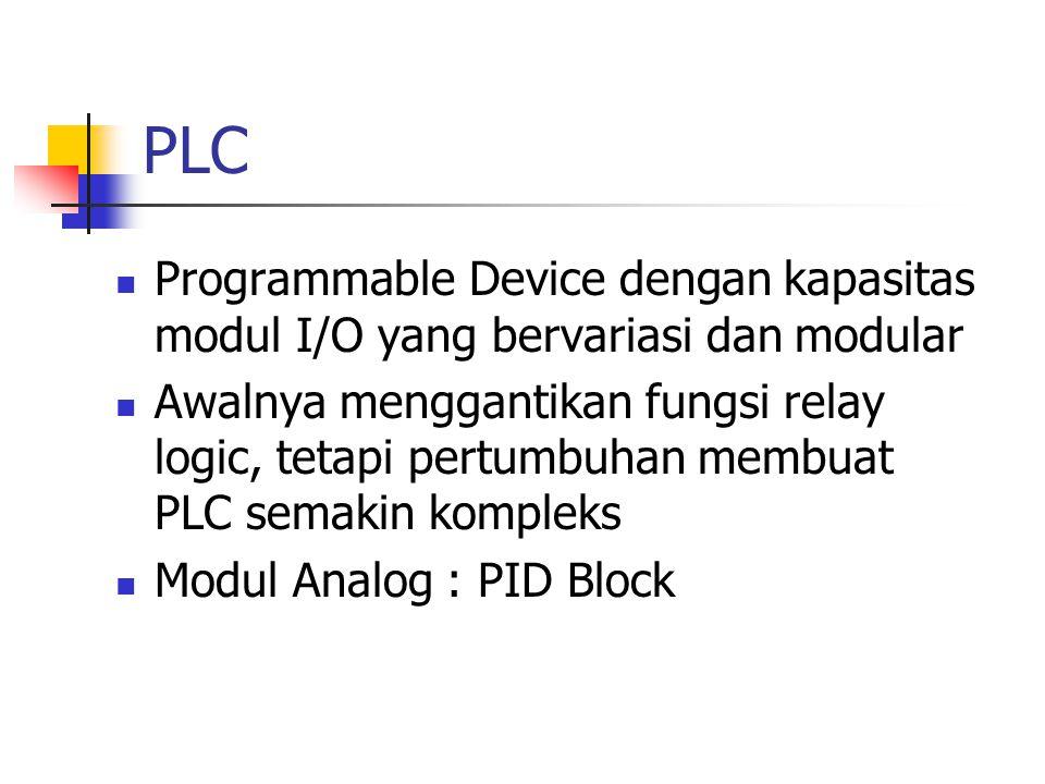 PLC Programmable Device dengan kapasitas modul I/O yang bervariasi dan modular Awalnya menggantikan fungsi relay logic, tetapi pertumbuhan membuat PLC