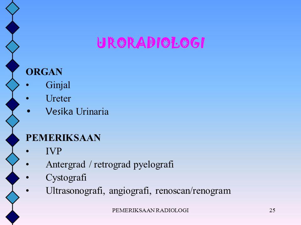 PEMERIKSAAN RADIOLOGI25 URORADIOLOGI ORGAN Ginjal Ureter Vesika Urinaria PEMERIKSAAN IVP Antergrad / retrograd pyelografi Cystografi Ultrasonografi, a