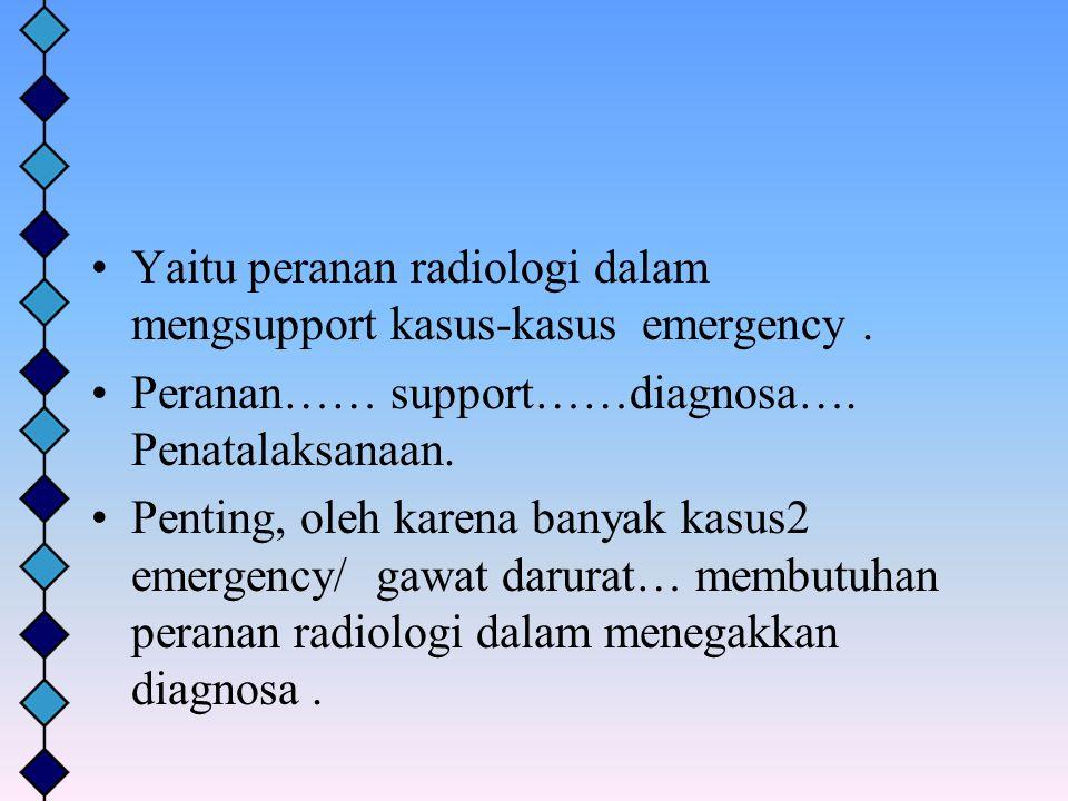 Yaitu peranan radiologi dalam mengsupport kasus-kasus emergency. Peranan…… support……diagnosa…. Penatalaksanaan. Penting, oleh karena banyak kasus2 eme