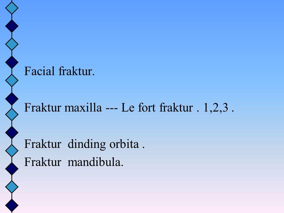 Facial fraktur. Fraktur maxilla --- Le fort fraktur. 1,2,3. Fraktur dinding orbita. Fraktur mandibula.