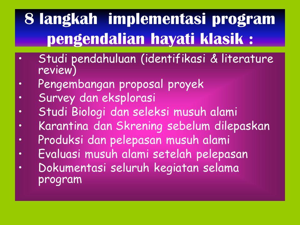 8 langkah implementasi program pengendalian hayati klasik : Studi pendahuluan (identifikasi & literature review) Pengembangan proposal proyek Survey d