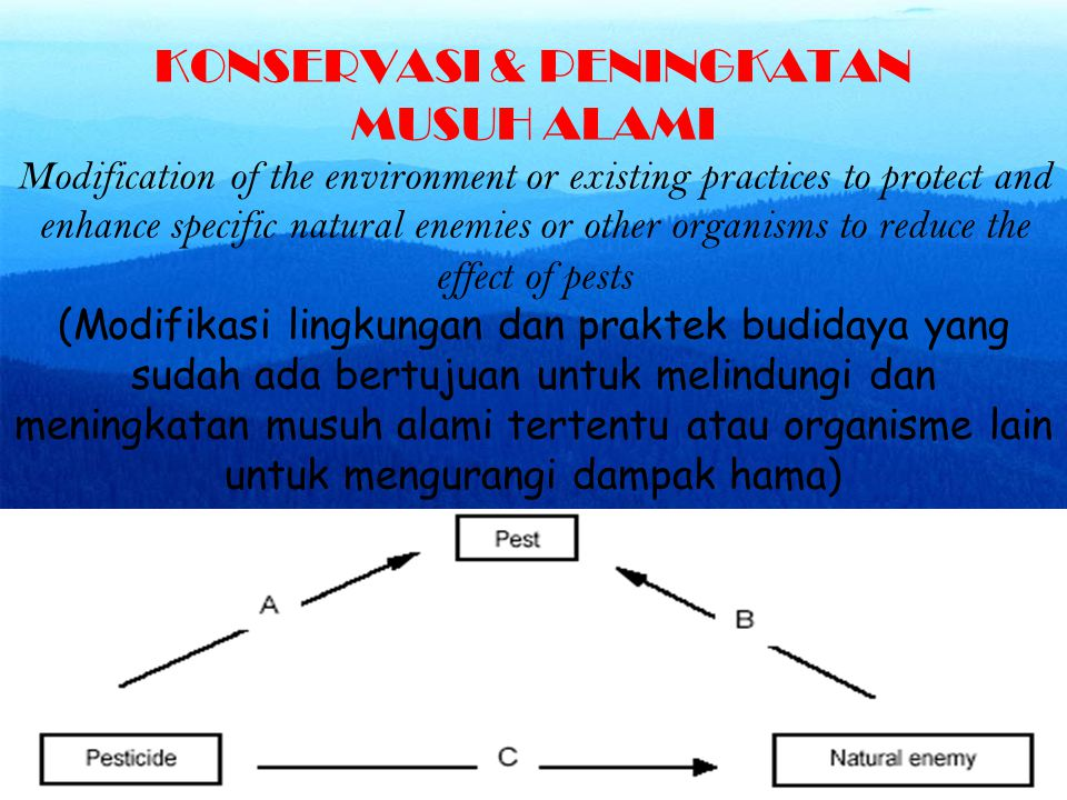 KONSERVASI & PENINGKATAN MUSUH ALAMI Modification of the environment or existing practices to protect and enhance specific natural enemies or other or
