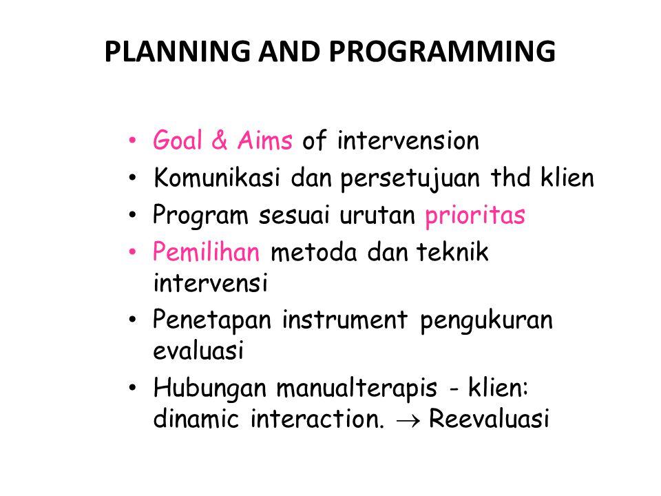 PLANNING AND PROGRAMMING Goal & Aims of intervension Komunikasi dan persetujuan thd klien Program sesuai urutan prioritas Pemilihan metoda dan teknik