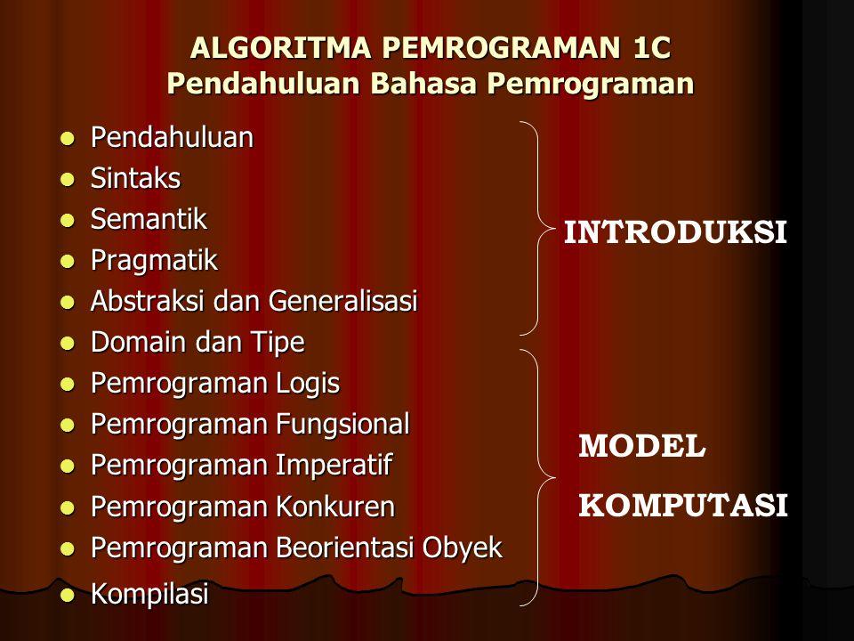 ALGORITMA PEMROGRAMAN 1C Pendahuluan Bahasa Pemrograman Pendahuluan Pendahuluan Sintaks Sintaks Semantik Semantik Pragmatik Pragmatik Abstraksi dan Ge