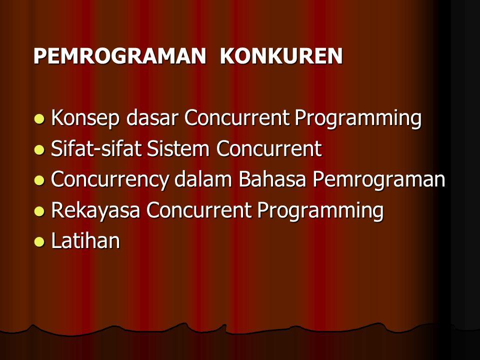 PEMROGRAMAN KONKUREN Konsep dasar Concurrent Programming Konsep dasar Concurrent Programming Sifat-sifat Sistem Concurrent Sifat-sifat Sistem Concurre