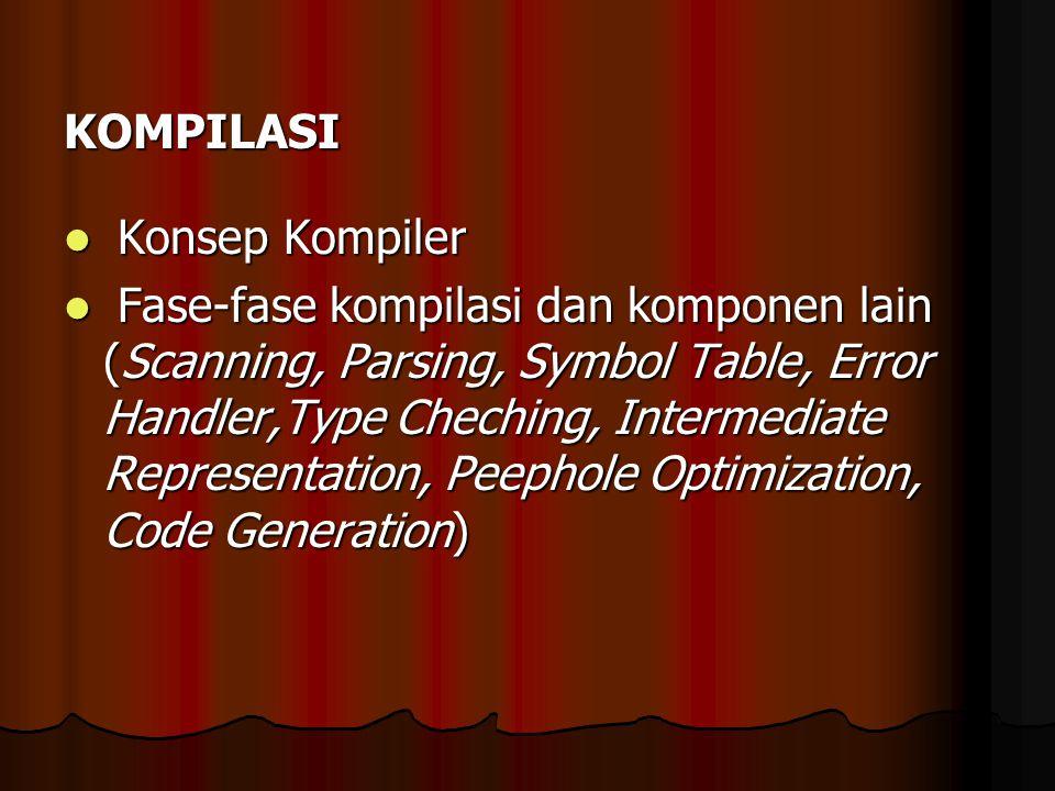 KOMPILASI Konsep Kompiler Konsep Kompiler Fase-fase kompilasi dan komponen lain (Scanning, Parsing, Symbol Table, Error Handler,Type Cheching, Interme