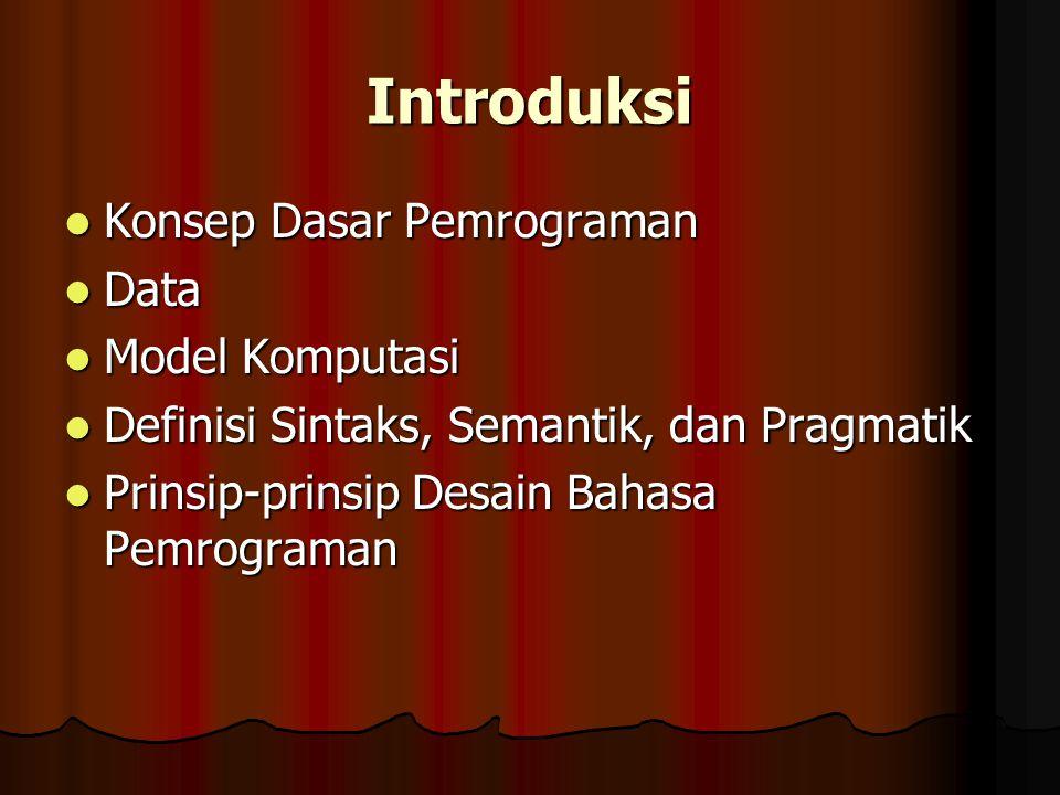 Introduksi Konsep Dasar Pemrograman Konsep Dasar Pemrograman Data Data Model Komputasi Model Komputasi Definisi Sintaks, Semantik, dan Pragmatik Defin