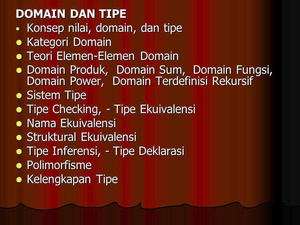 DOMAIN DAN TIPE Konsep nilai, domain, dan tipe Konsep nilai, domain, dan tipe Kategori Domain Kategori Domain Teori Elemen-Elemen Domain Teori Elemen-