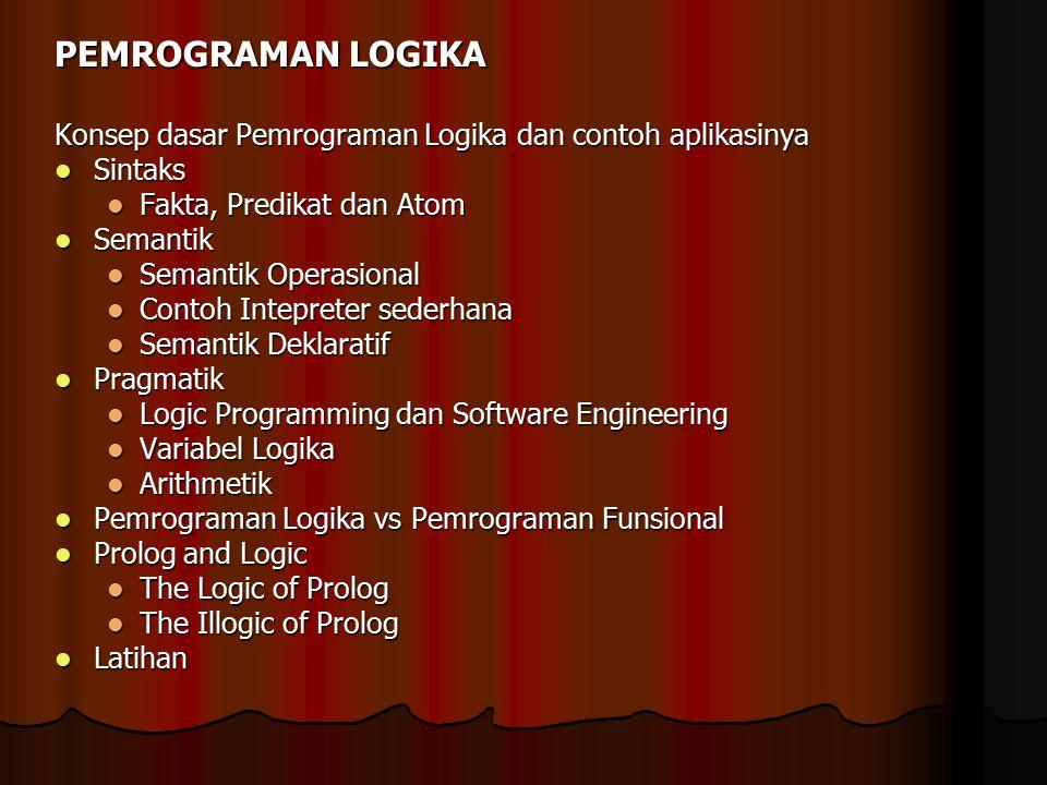 PEMROGRAMAN LOGIKA Konsep dasar Pemrograman Logika dan contoh aplikasinya Sintaks Sintaks Fakta, Predikat dan Atom Fakta, Predikat dan Atom Semantik S
