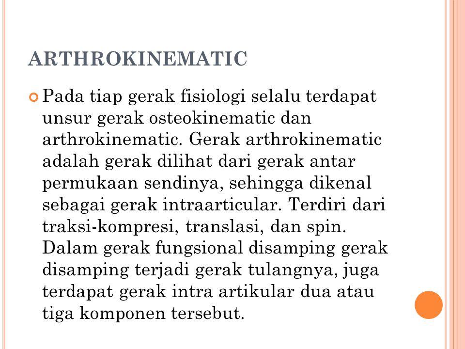 ARTHROKINEMATIC Pada tiap gerak fisiologi selalu terdapat unsur gerak osteokinematic dan arthrokinematic. Gerak arthrokinematic adalah gerak dilihat d