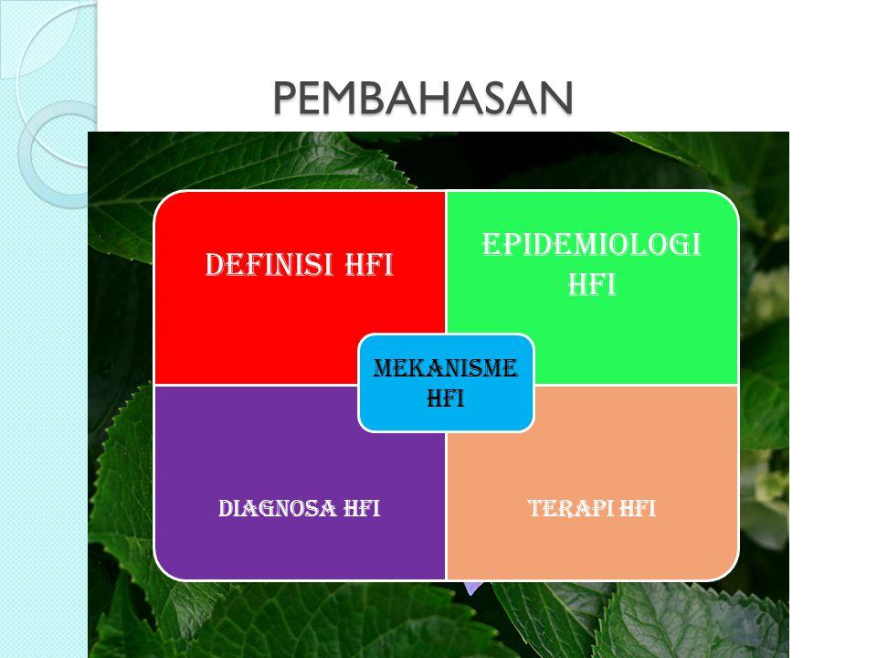 PEMBAHASAN DEFINISI HFI EPIDEMIOLOGI HFI DIAGNOSA HFITERAPI HFI MEKANISME HFI