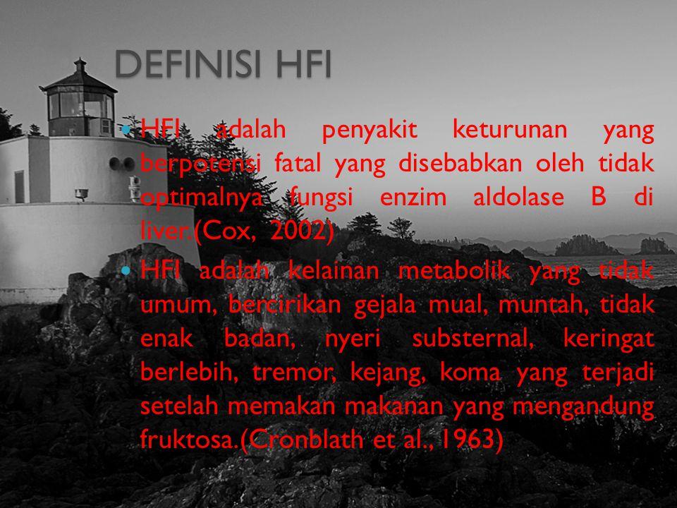 DEFINISI HFI HFI adalah penyakit keturunan yang berpotensi fatal yang disebabkan oleh tidak optimalnya fungsi enzim aldolase B di liver.(Cox, 2002) HF