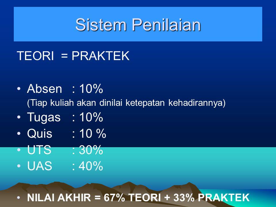 Sistem Penilaian TEORI = PRAKTEK Absen : 10% (Tiap kuliah akan dinilai ketepatan kehadirannya) Tugas : 10% Quis : 10 % UTS : 30% UAS : 40% NILAI AKHIR = 67% TEORI + 33% PRAKTEK