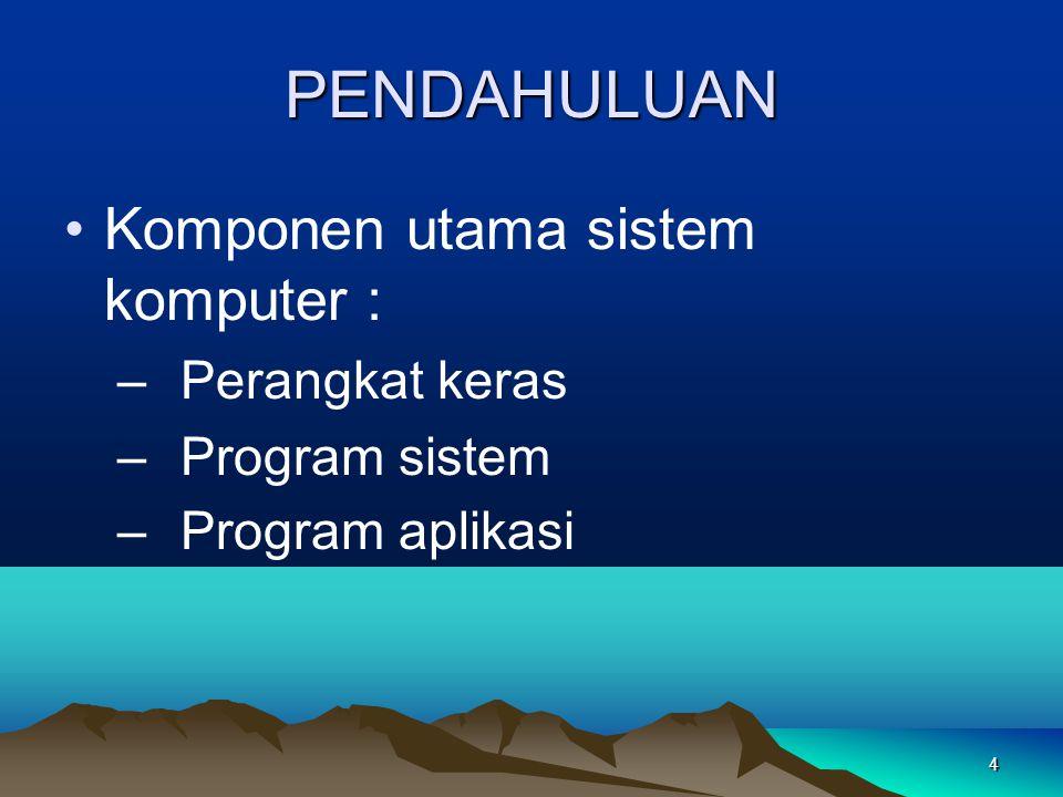 4 PENDAHULUAN Komponen utama sistem komputer : – Perangkat keras – Program sistem – Program aplikasi