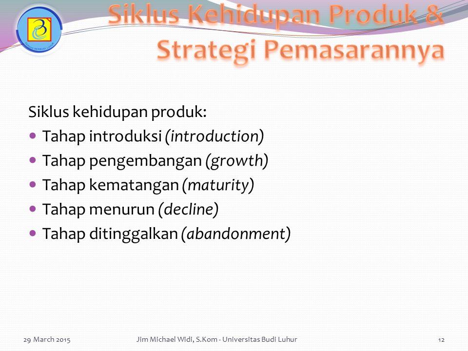 Siklus kehidupan produk: Tahap introduksi (introduction) Tahap pengembangan (growth) Tahap kematangan (maturity) Tahap menurun (decline) Tahap ditingg